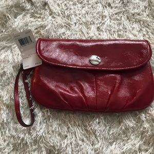Coach Cherry Red Patent Leather Large Wristlet